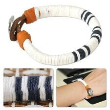 White Cotton Rope Cord Wrap Leather Bracelet Bangle Wristband Surfer Button