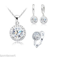 Jewelry Set Prom Wedding Party Bridal Diamante Crystal Pearl Necklace Earrings
