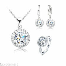 Clear Iced Out Bling Ring Necklace Stud Earring Wedding Jewelry Set Silver