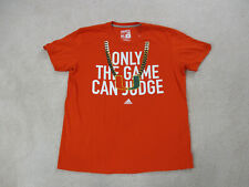 Adidas Miami Hurricanes Shirt Adult Extra Large Orange Gold Turn Over Chain Mens