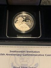 More details for smithsonian institution 150th anniversary silver proof dollar .900 silver. box