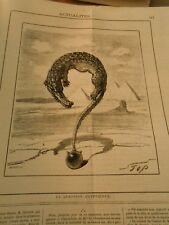Caricature 1882 - Egyptian Question Point mark with a Crocodile