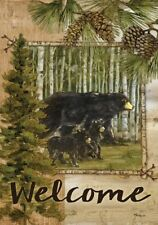 Welcome Black Bears Great Outdoors Pines Pine Cones Garden Small  Flag
