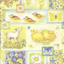 2 Serviettes papier Printemps Poussin Fleurs Decoupage Paper Napkins Springtime
