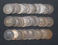 LOT OF 36 LARGE GREAT BRITAIN KING GEORGE V One Penny Copper Bronze World Coins