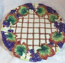 """1993 Fitz & Floyd Round Dish Grapes Leaves Trellis 13"""" Serving Plate Please Read"""