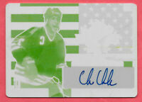 2016-17 Chris Chelios Leaf Metal Yellow Printing Plate Auto 1/1 - Blackhawks