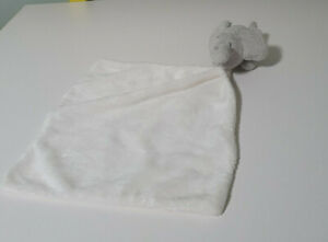 BABY SECURITY BLANKET GREY ELEPHANT ON A WHITE BLANKET