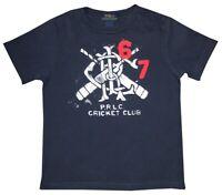 RALPH LAUREN POLO PRLC CRICKET CLUB T SHIRT 67 PATCH BLUE WHITE RED KIDS BOYS 4