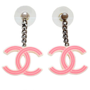 Auth vintage Chanel stud pierced earrings pink CC logo dangle plastic #st3016
