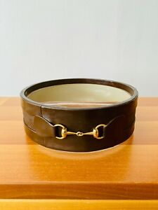 Vintage GUCCI Brown Leather / Glass / Brass Bit Divided Dish, VGC