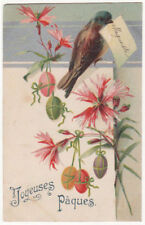 Bird With Flowers And Easter Eggs Original Antique Postcard