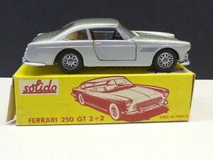Vintage Solido 123 Ferrari 250GT 2+2 Coupe Silver Car Mint Original Yellow Box