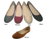 Womens Fashion Ballerina Flat Faux Suede Shoes 5 6 7 8 9 10 11 Assorted Colors