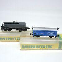 2 x alte Minitrix Güterwagen Ford/Eva in Ovp schöner Zustand 13267/3550 inkl.DHL