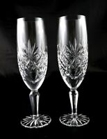 Pair of Stunning Vintage Lead Crystal Champagne Flutes Prosecco Glasses heavy