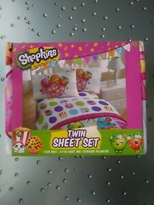 """Shopkins"" Twin Sheet Set 1 Flat 1 Fitted 1 Standard Pillowcase Super Soft NIB!"