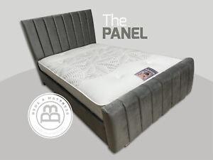 VELVET PANEL BED WITH SLATS GASLIFT OTTOMAN STORAGE BESPOKE SALE KING DOUBLE