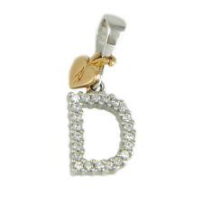 Pendente ciondolo iniziale lettera D in oro bianco 18 carati e zirconi bianchi