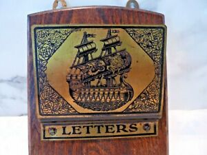 Vintage Aesthetic Edwardian Brass And Oak Nautical Wall Hanging Letters Rack