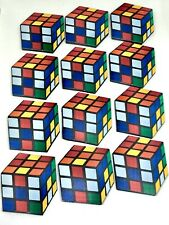 12 x 2D Rubiks Cube Cupcake Toppers Edible Fondant Cubes Cake Decoration
