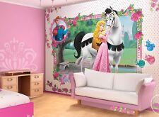 Murale géante papier peint pour chambre de fille Disney Princess rose décoration