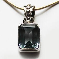 925 Sterling Silver Semi-Precious Small Natural Stone Blue Topaz Pendant