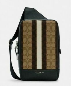 NWT COACH MEN'S Turner Pack In Signature Jacquard With Stripes