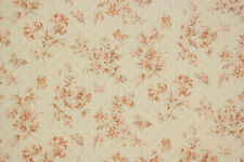 1980's Vintage Wallpaper Red Flowers Butterflies on off White