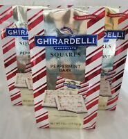 3X GHIRARDELLI PEPPERMINT BARK MILK CHOCOLATE SQUARES 7.9 OZ LIMITED EDITION