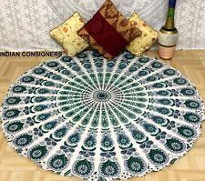 Indian Green Rainbow Mandala Cotton Queen Tapestry Rundie Picnic Hippie Wall Art