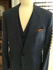 """Cravats Bespoke""A 2 Piece Jacket & Vest Blue Window Pane 43R Lux 100% Wool"