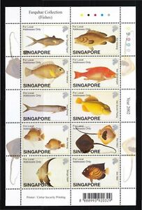 SINGAPORE 2002 FARQUHAR COLLECTION OF NATURAL HISTORY DRAWINGS FISHES SHEET MINT