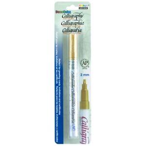 Gold Metallic Calligraphy Glossy Paint Marker 2mm Nib Opaque Archival Waterproof