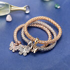 18K Yellow/Rose/White Gold Plated 3 Tone Butterfly Crystals Charm Bracelet BL324