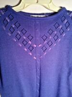 Sweater Purple Patsy's Place Vintage Woven Ribbon Yoke Periwinkle Med Pullover