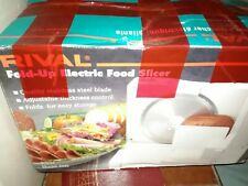 Rival Fold Up Electric Food Slicer Deli Style Meat and Cheeses Model 1042 White