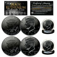2019 Genuine BLACK RUTHENIUM JFK Kennedy Half Dollar 2-Coin Set BOTH P & D MINT