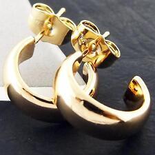 FS920 GENUINE REAL 18K YELLOW G/F GOLD SOLID LADIES STUD DROP HALF HOOP EARRINGS