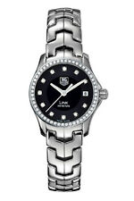 NEW TAG HEUER WOMENS LINK WJF131A.BA0572 DIAMOND BEZEL BLACK DIAL QUARTZ WATCH
