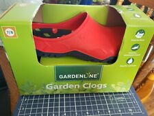 Gardenline Garden Clogs Womens 7/8 Rubber Slip on, removable insock New Red