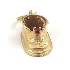 14K Gold July Birthstone 3D Baby Bootie Shoe Charm Pendant 1.2gr