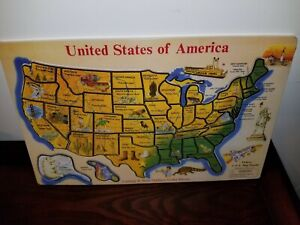 NEW 1990's MELISSA & DOUG United States America USA Map WOODEN PUZZLE Capitals