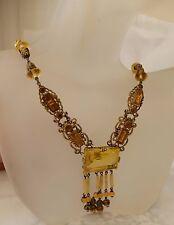 Necklace Festoon Brass Fittings Unique Edwardian Art Deco Czech Amber Glass
