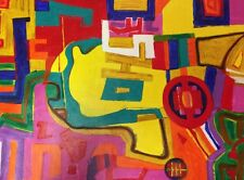 Pink Modern Abstract on Canvas HYMAN, Phyllis Trager (Jewish American 1936-2011)