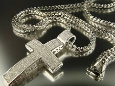 Mens White Gold Finish Puff Cross Charm Pendant Chain Set 3.5 inch