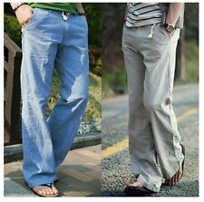 Men's Flax Cotton Straight Pants Fashion Loose Breathable Trousers Casual Pants
