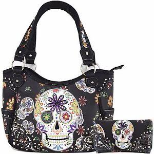Sugar Skull Halloween Purse Punk Handbag Women's Totes Shoulder Bag Wallet Set