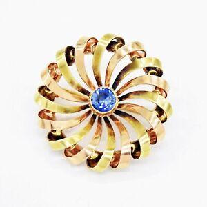 14k Yellow & Rose Gold Estate Sapphire Open Swirl Circle Pin/Brooch