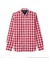 Fred Perry Tartan Gingham Mix Men's Long Sleeve Shirt M8274-956 - ENGLAND RED
